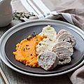 Ballottines de poulet farcies, purées de carottes et céleri