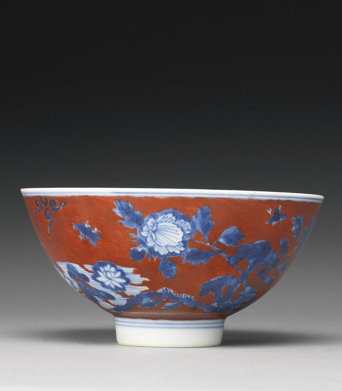 A rare iron-red ground and blue and white bowl, 17th century1