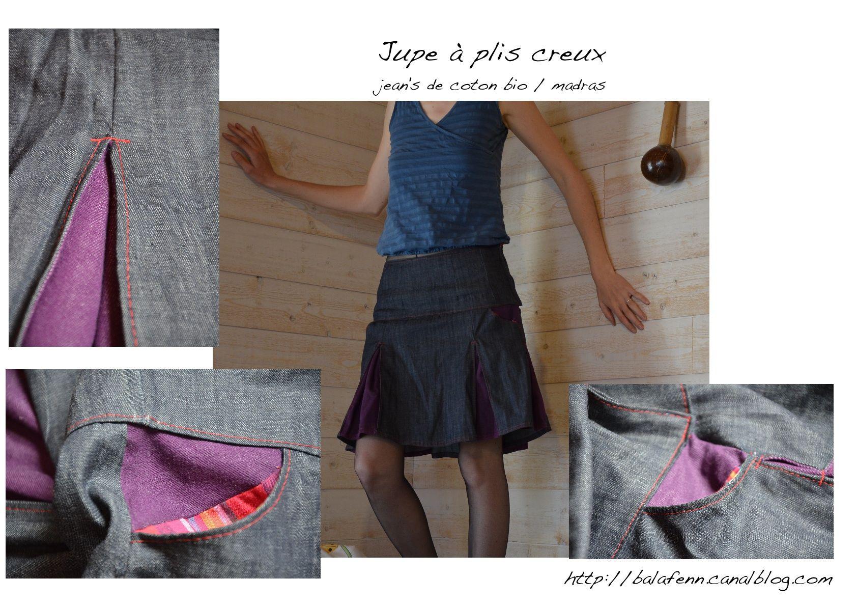 jupe à plis creux