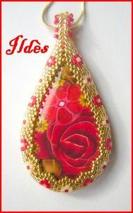 pendentif jade goutte rouge