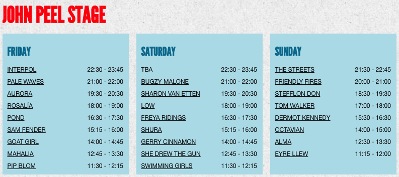 John Peel Stage_line up_programmation_2019
