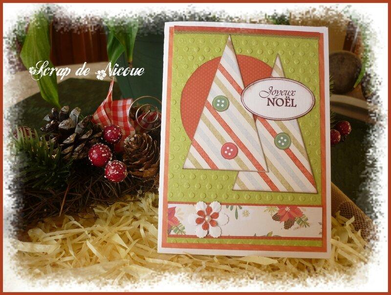 Carte vert orangé sapins Joyeux Noël