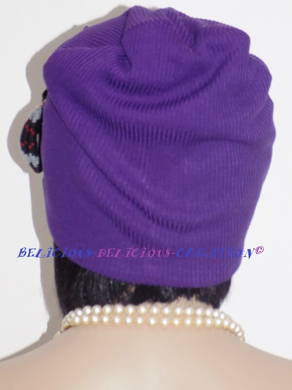 beanie hat voilet with bow in front b