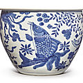 A blue and white 'fish' jardinière, qing dynasty, kangxi period (1662-1722)