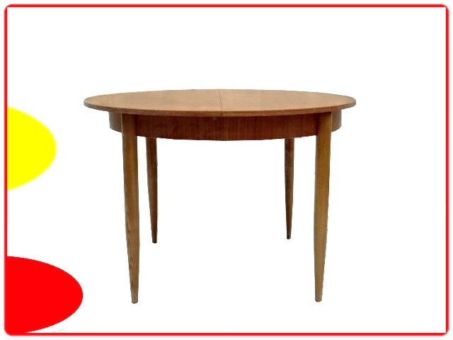 table ronde vintage teck scandinave