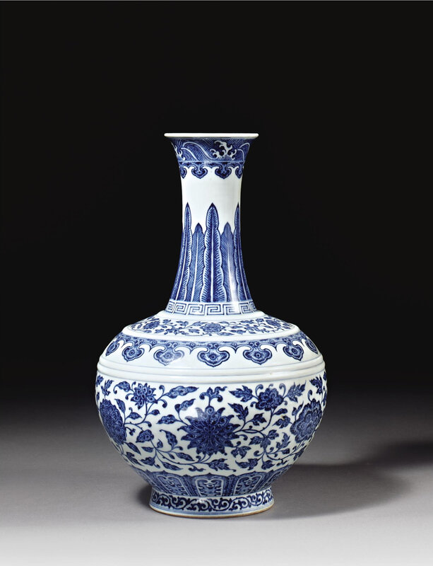 A Ming-style blue and white globular bottle vase, Seal mark and period of Qianlong (1736-1795)