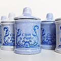 Vintage ... pots à epices * faïence bleue