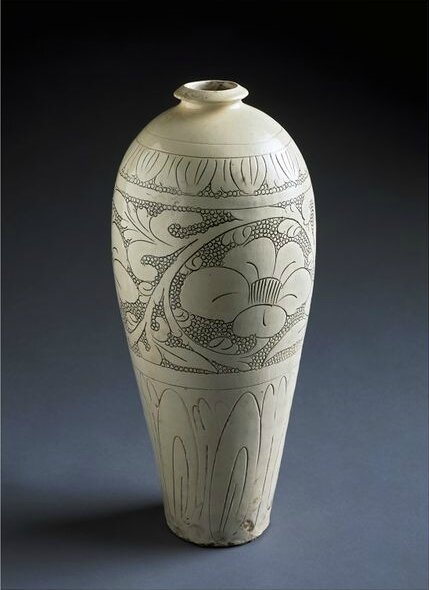 Vase, incised and punched stoneware on cream-coloured slip, Cizhou ware, China, Northern Song dynasty, 1025-1050