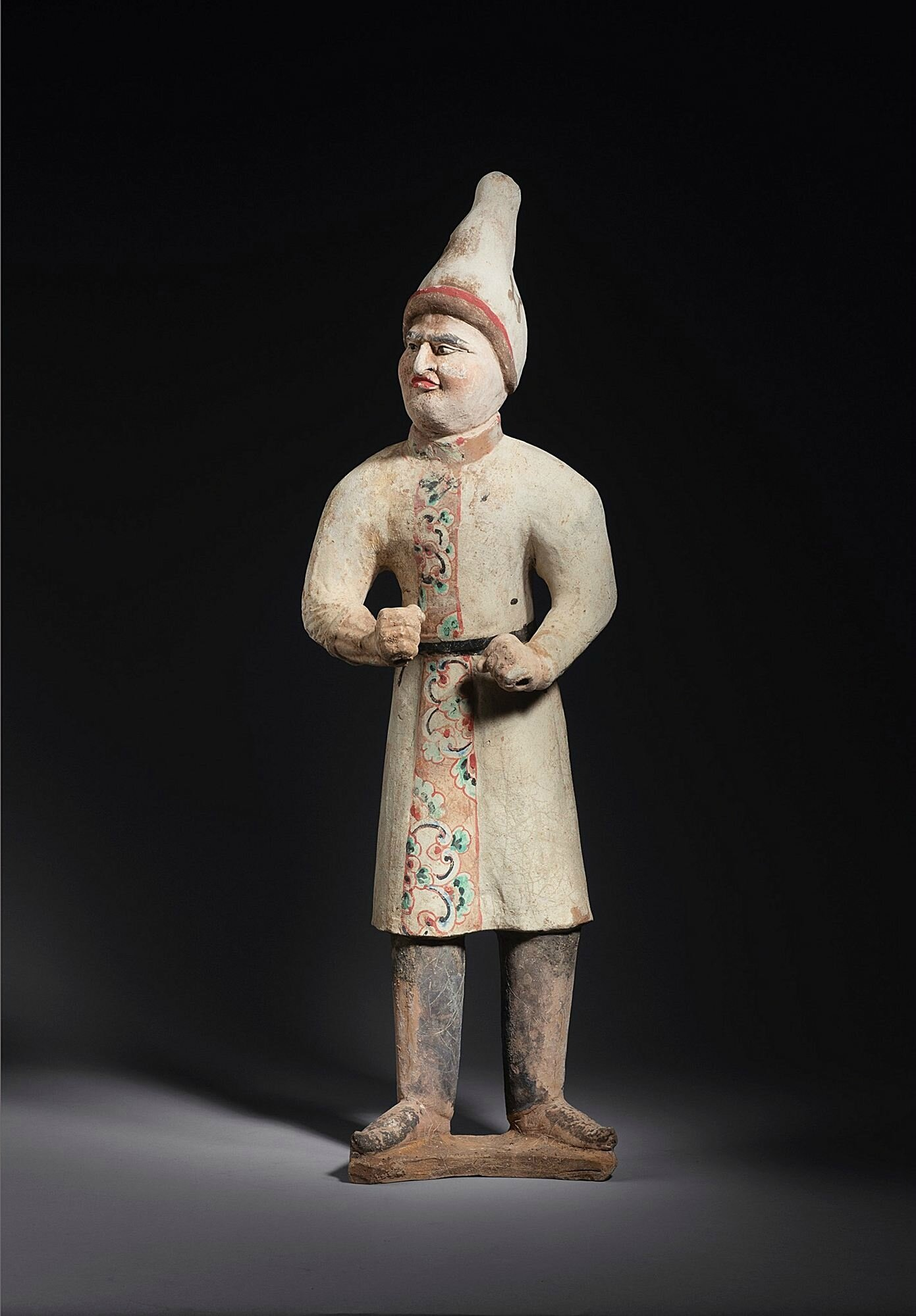 Pottery figure of a foreign groom with a pointed hat, China, Tang dynasty, 7th-8th century