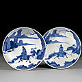 A pair of blue and white porcelain saucers, qing dynasty, kangxi mark and period (1662-1722)