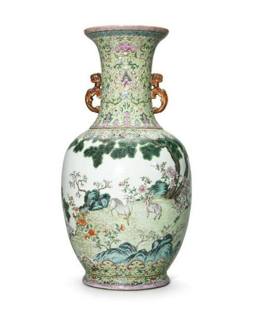 A large lime-green ground famille-rose 'Three Rams' vase, Daoguang six-character seal mark in iron red and of the period (1821-1850)