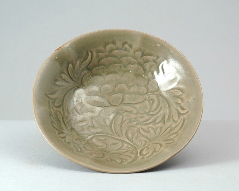 Greenware dish with peony decoration, Yaozhou kilns, 11th - 12th century, Northern Song Dynasty (AD 960 - 1127)