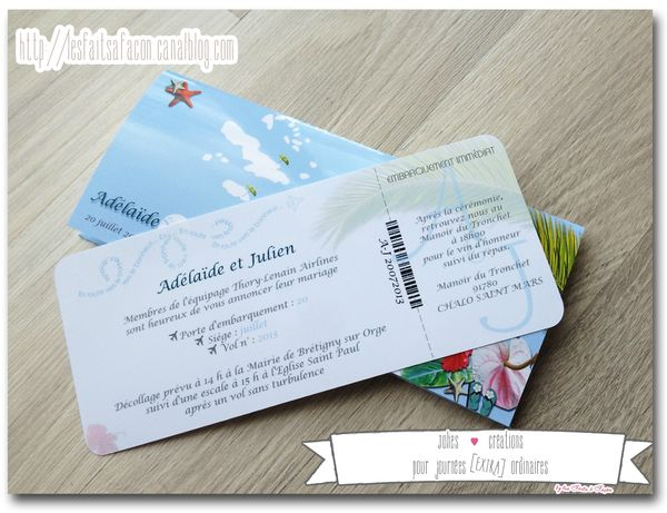 faire part billet d avion theme des iles billet