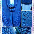 Châle bleu acier avec