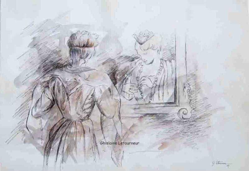 Arlésienne au miroir Dessin Encre Ghislaine Letourneur - in the mirror