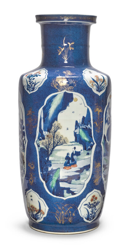 A fine powder-blue-ground wucai and gilt rouleau vase, Qing Dynasty, Kangxi Period (1662-1722)