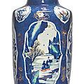 A fine powder-blue-ground wucai and gilt rouleau vase, qing dynasty, kangxi period (1662-1722)