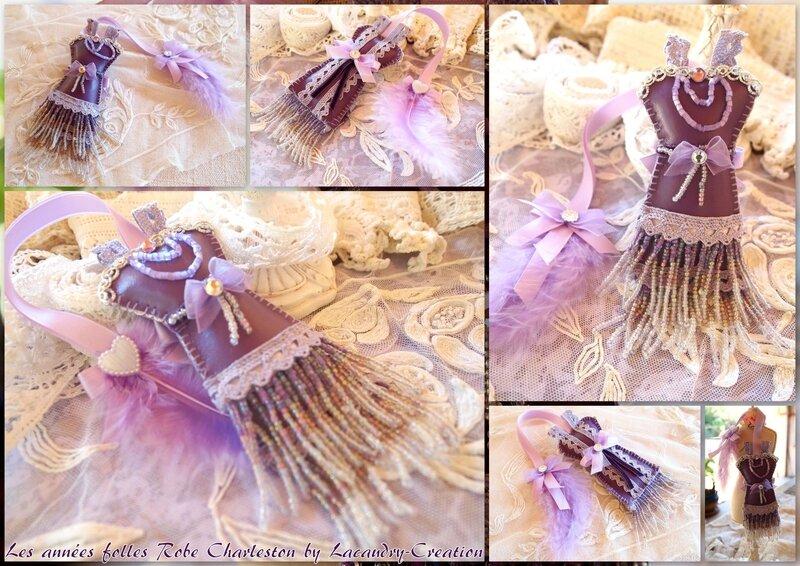 robe charleston années folle lacaudry creation marque pages similicuir mauve et dentelle perle