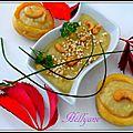 Velouté d'artichauts, pommes de terre et son île flottante aux pistaches, noix de cajou