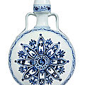 An outstanding and rare blue and white 'rosette' moonflask, bianhu, ming dynasty, yongle period