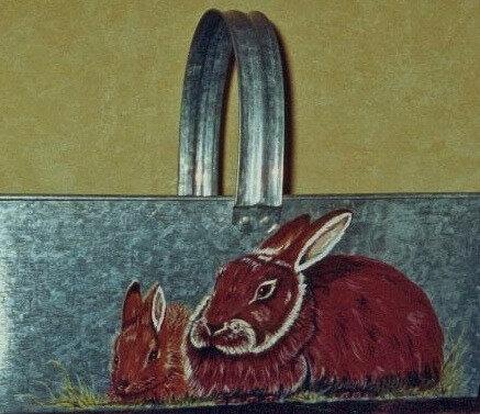 """""""Lapins"""" (peinture sur panier fer)"""