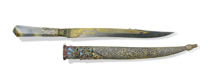An Ottoman dagger with banded-agate hilt and jewelled silver scabbard, Turkey, 19th century