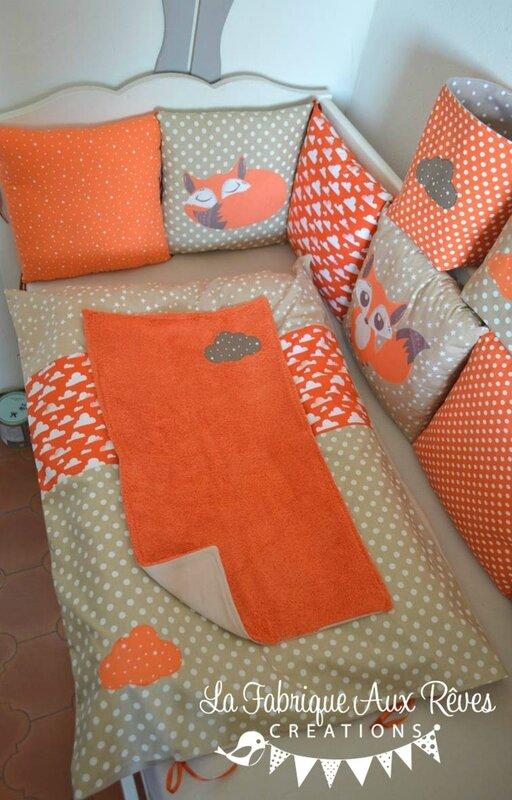 housse matelas à langer orange crème beige chocolat marron nuage renard