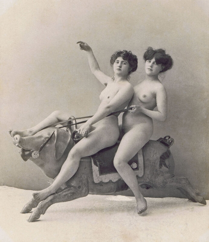 Unknown (french), Two women on a carousel pig, c