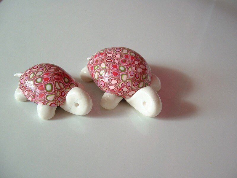 tortues rose et blanche