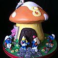 Gâteau la maison des stroumphs