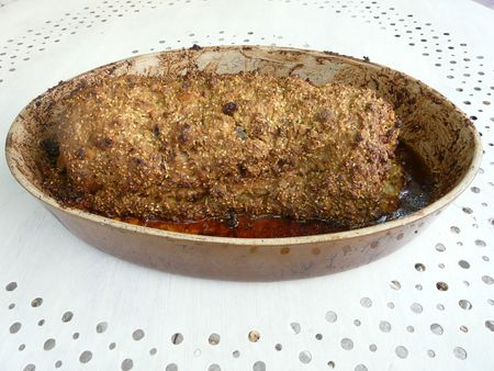rôti de porc en croûte de moutarde et sésame et champi (2)