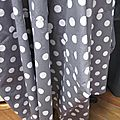 Robe EULALIE en coton gris à gros pois blancs (3)