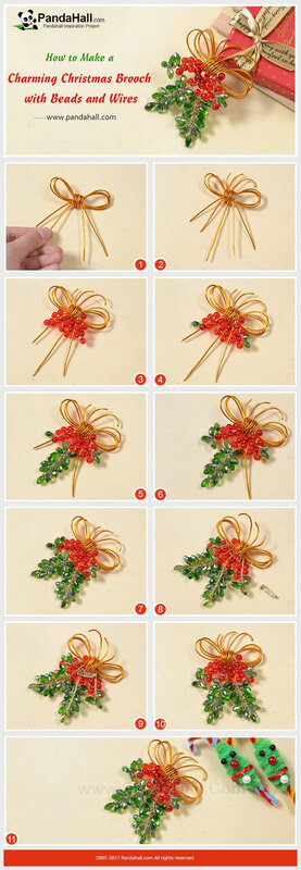 How to Make a Charming Christmas Brooch with Beads and Wires