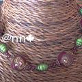 Collier Fimo fleurs bordeaux et miracle verte (N)