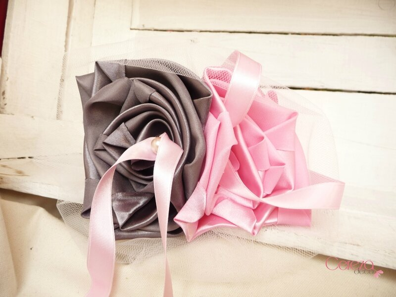 porte alliance fleur original mariage rose gris anthracite perle tulle cereza deco 1