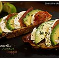 Tartine gourmande avocat, coppa & mozzarella