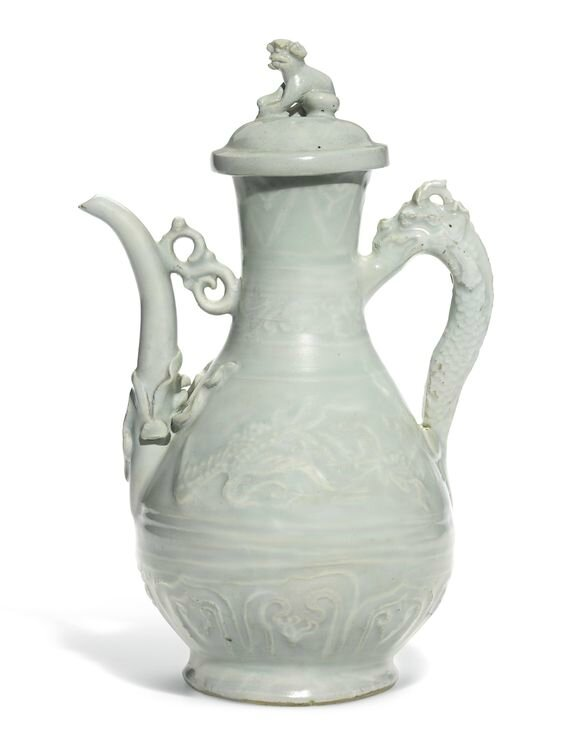 A rare Qingbai 'phoenix' ewer and cover, Yuan dynasty
