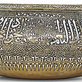 A fine silver-inlaid brass bowl, persia, 14th century