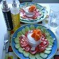Carpaccio concombre-tomate