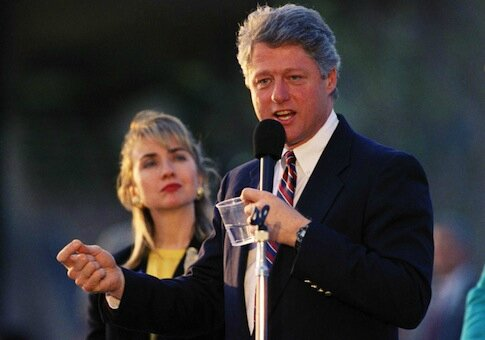Hillary Clinton -behind-Bill 1992