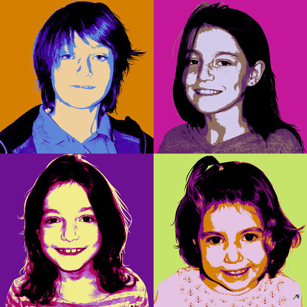 Portrait pop'art quatro, nuanciers BEDA