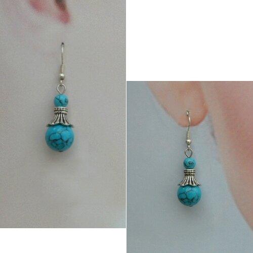 Boucles d'Oreilles Style Tibétain Malaya Perles Turquoise Argent du Tibet