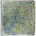 Une rare plaque pectorale dong son (500 bce – 300 ce) a decor d'hommes-oiseaux et crocodiles.
