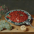 Isaak soreau, a still life with strawberries in a wan-li porcelain bowl, a bunch of grapes, a glass vase with columbines...