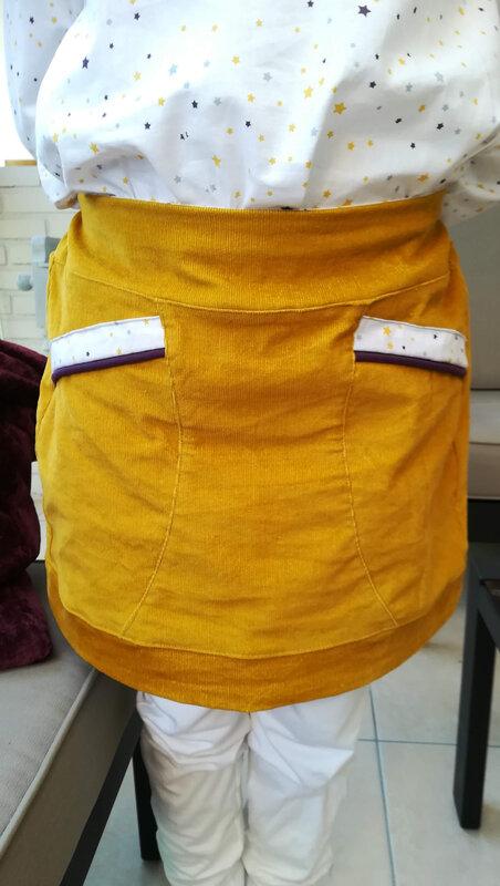jupe Moqueuse Tunique Easy T12 velours moutarde coton étoiles Petrouchka Creations 7