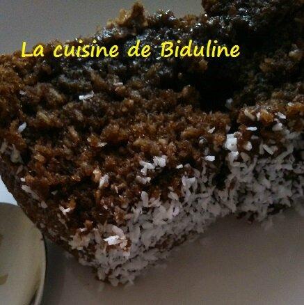 Moelleux chocolat/coco (La cuisine de Biduline)