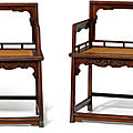 A pair of huanghuali low-back armchairs, meiguiyi, late ming-early qing dynasty