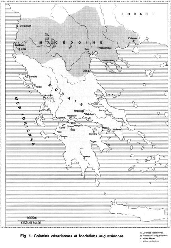 colonies césariennes et fondations augustéennes en Grèce