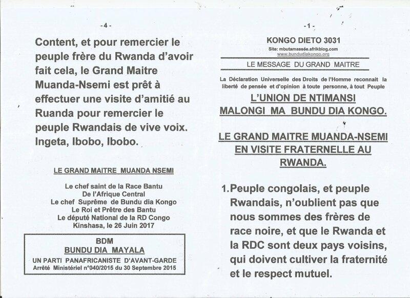 LE GRAND MAITRE MUANDA NSEMI EN VISITE FRATERNELLE AU RUANDA a