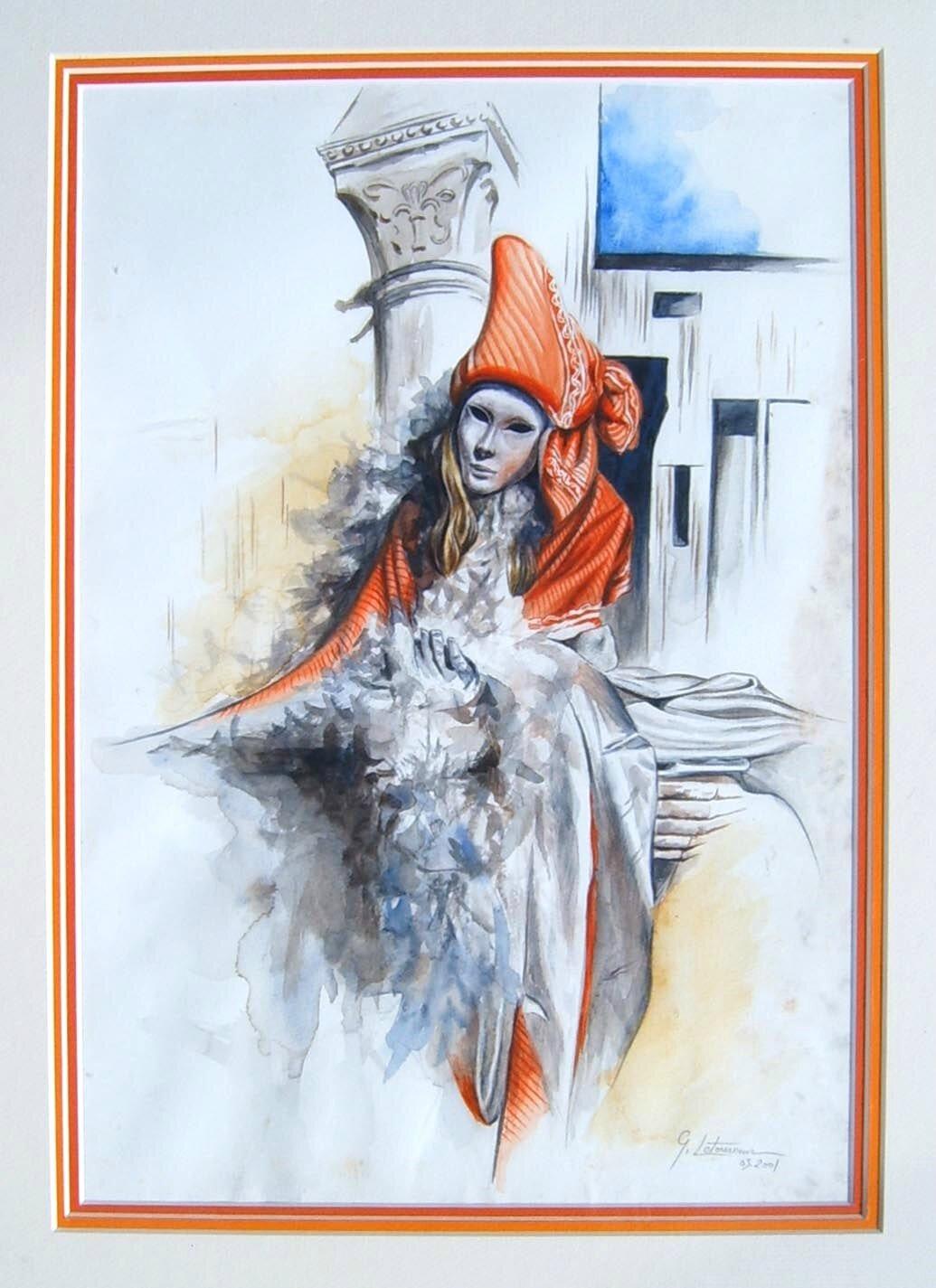 Carnaval de Venise Mystère - Costume tissu orange et satin blanc Aquarelle Ghislaine Letourneur